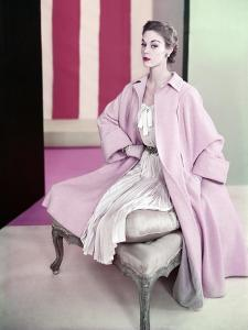 Model Jean Patchett Wearing Pale Pink Poodle Coat over Dress of Pleated Silk Shantung