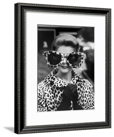 Model June Pickney Sporting Leopard Fur Coat and Huge Leopard Fur Rimmed Sunglasses-Stan Wayman-Framed Premium Photographic Print