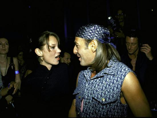 Model Kate Moss and Designer John Galliano at Galliano's Opening of Christian Dior Boutique-Marion Curtis-Premium Photographic Print