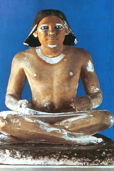 Model of a Seated Scribe, Ancient Egyptian, 5th Dynasty, 2498-2345 Bc--Photographic Print