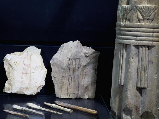 Model of Column Shafts of Columns on Ostrakon and Plaster Spatulas--Giclee Print