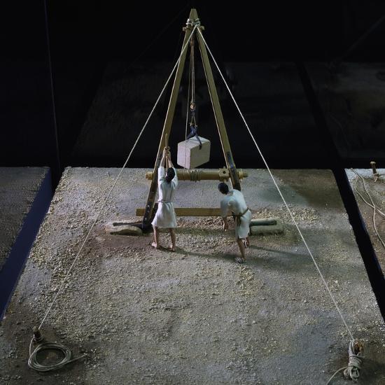 Model of Crane Lifting Stone Block--Giclee Print