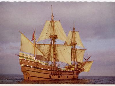 """Model of the Ship Which Carried the """"Pilgrim Fathers"""" from Europe to the New World--Photographic Print"""