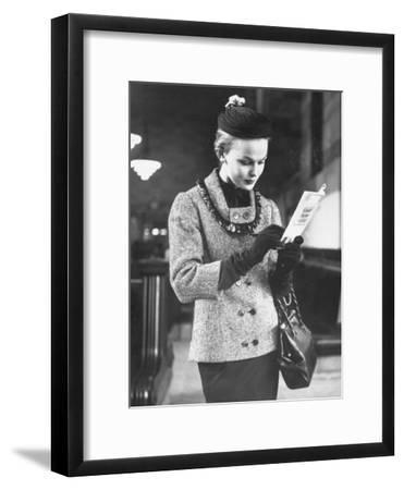 Model Posing in a Train Station While Wearing New Fashion-Gordon Parks-Framed Premium Photographic Print