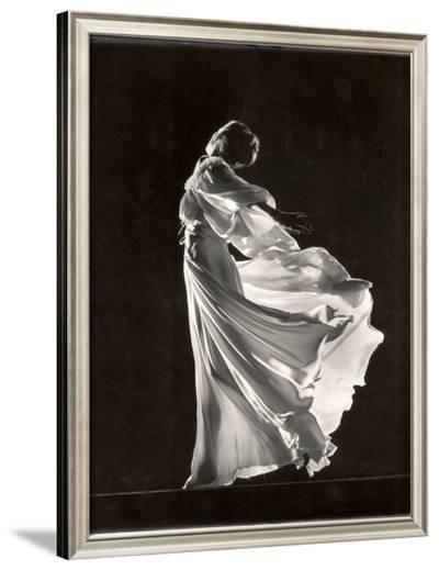 Model Posing in Billowing Light Colored Sheer Nightgown and Peignoir-Gjon Mili-Framed Photographic Print