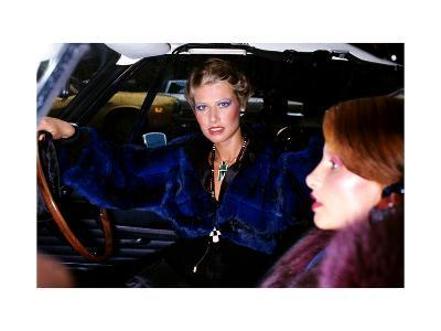 Model, Sitting in the Driver's Seat of a Car, Wearing a Blue-Dyed Chinchilla Short Blouson-Kourken Pakchanian-Premium Giclee Print