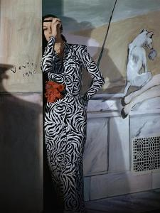Model Standing before a Mural by Vertes Wearing a Black and White Print Rayon Crepe Dinner Dress