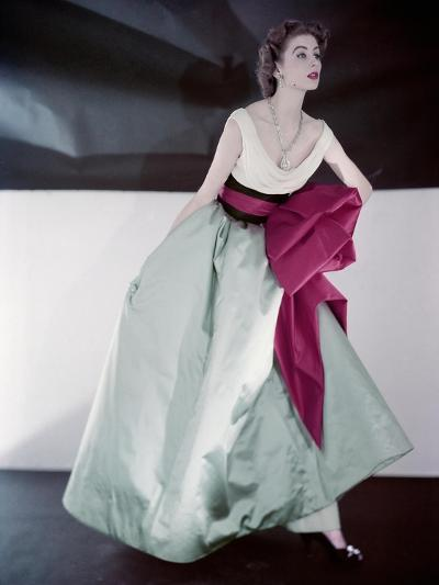 Model Suzy Parker Wearing Fath's Evening Dress Made in Three Separate Pieces--Premium Photographic Print