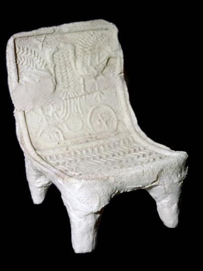 Model terracotta chair from Ur with relief design of two birds. Artist: Unknown-Unknown-Giclee Print