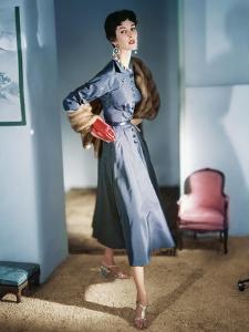 Model Wearing a Blue-Violet Grey Satin Dress by Sophie Original