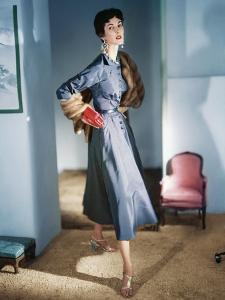 3eccaada35 Model Wearing a Blue-Violet Grey Satin Dress by Sophie Original