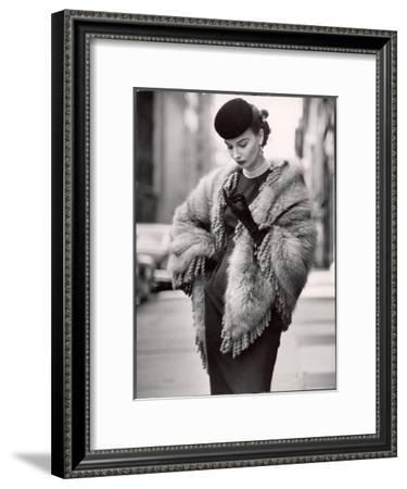 Model Wearing a Fringed Shawl Made of Natural Norwegian Blue Fox, Selling For $750-Gordon Parks-Framed Premium Photographic Print