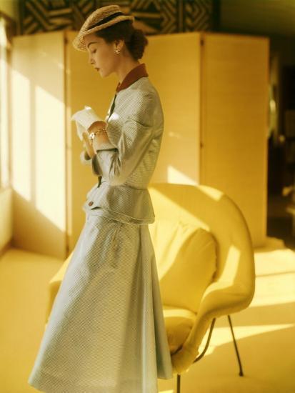 Model Wearing a Gold Silk Taffeta Velvet Buttoned Suit--Premium Photographic Print
