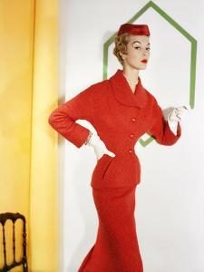 Model Wearing a Orange Tweed (A Lesur Fabric) Suit