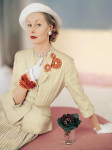 Model Wearing a Silk Cream Suit