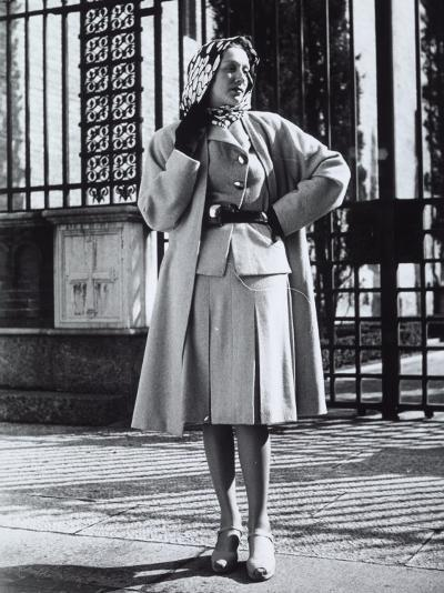 Model Wearing a Suit and Wool Coat by Sartoria Moretti-A^ Villani-Photographic Print