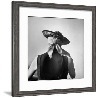 Model Wearing Bandanna Base under Straw Skimmer-Gordon Parks-Framed Premium Photographic Print