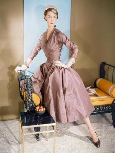 Model Wearing Beige-Brown Full Skirted Peau De Soie Dancing Dress