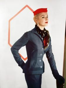 Model Wearing Charcoal Wool Flannel Givenchy Design Suit by Jay Thorpe