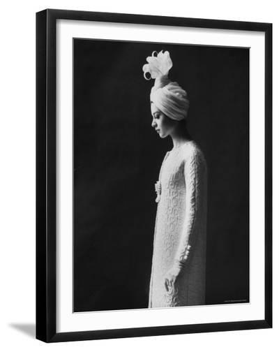 Model Wearing Costume from Collection of Famous Designers-Paul Schutzer-Framed Photographic Print