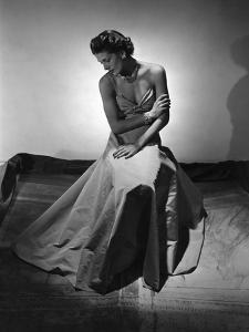 Model Wearing Floor-Length Faille Gown with Twisted-Bandeau Bodice