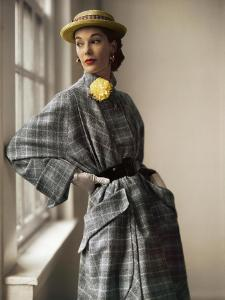 Model Wearing Gold Barrel Wool Tweed Full Coat with Huge Pocket Panels by Willi