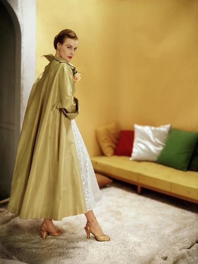 Model Wearing Gold Silk Taffeta Shantung Coat over a Gold Organdie Dress by Cecil Chapman--Premium Photographic Print