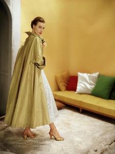 Model Wearing Gold Silk Taffeta Shantung Coat over a Gold Organdie Dress by Cecil Chapman