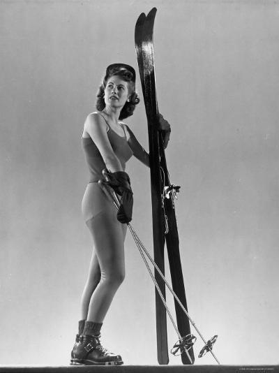 Model Wearing Long Wool Ski Underwear-Gjon Mili-Photographic Print