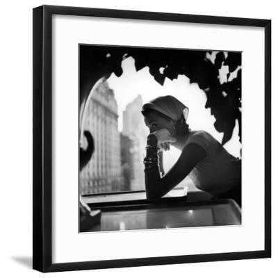 Model Wearing Nursemaid's Kerchief by Lilly Dache-Gordon Parks-Framed Premium Photographic Print