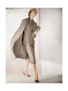 Model Wearing Pale Monochrome Two Piece Silk Shantung Suit of Polka Dots