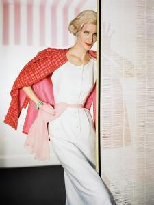 d3aa45dee1 Model Wearing Sleeveless White Linen Five Button Dress with Bamboo-Printed  Silk Jacket