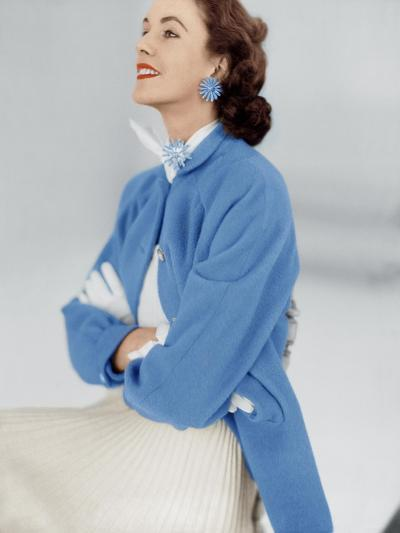 Model Wearing Stroock Fleece Turquoise Shirt Coat with Shirttails--Premium Photographic Print