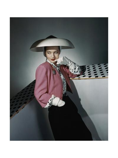 Model Wearing White Hat by Arnold Constable and Pink and Black Skirt Suit by Carolyn Modes--Premium Photographic Print