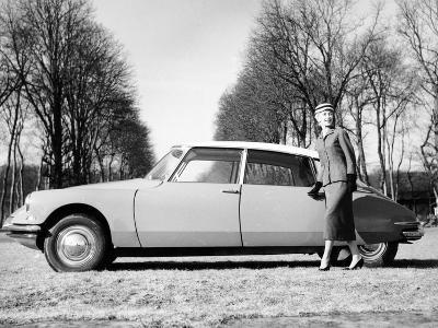 Model with a 1957 Citro?n Id 19, C1957--Photographic Print