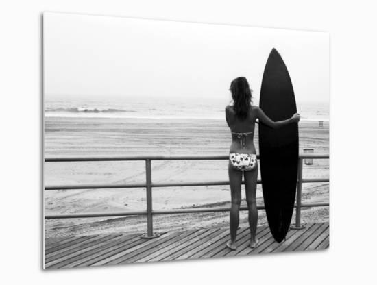 Model with Black Surfboard Standing on Boardwalk and Watching Wave on Beach-Theodore Beowulf Sheehan-Metal Print