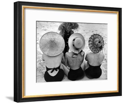 Models on Beach Wearing Different Designs of Straw Hats-Nina Leen-Framed Premium Photographic Print