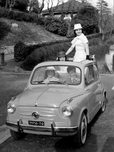 Models on Board Fiat 600--Photographic Print