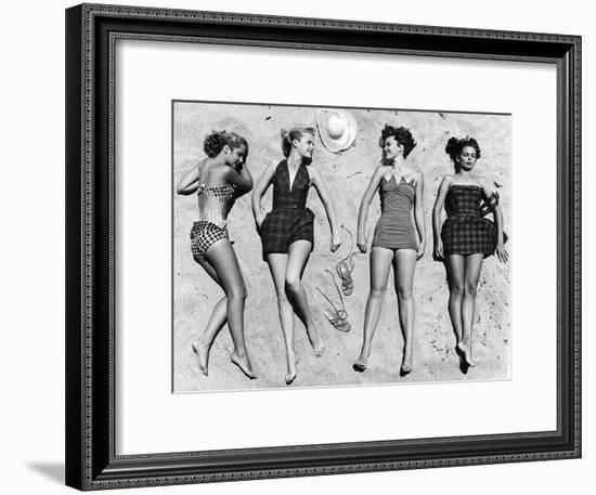 Models Sunbathing, Wearing Latest Beach Fashions-Nina Leen-Framed Premium Photographic Print