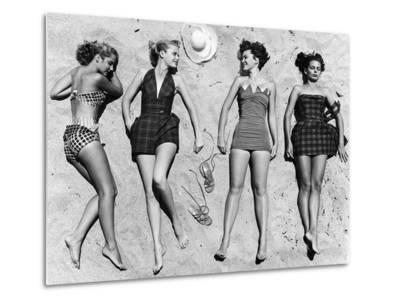Models Sunbathing, Wearing Latest Beach Fashions-Nina Leen-Metal Print