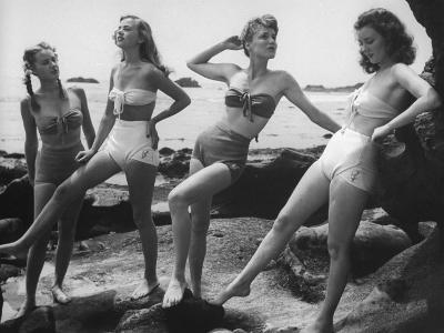 """Models Wearing """"California"""" Bathing Suits, with No Shoulder Straps and Minimum Diaper Style Pants-Walter Sanders-Photographic Print"""