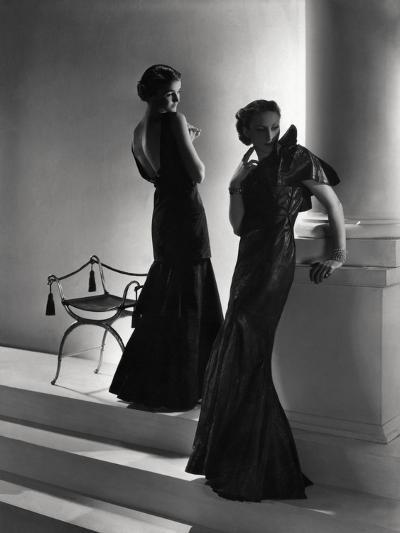 Models Wearing (From Left) Long Backless Dress with Two-Tiered Skirt by Worth--Premium Photographic Print