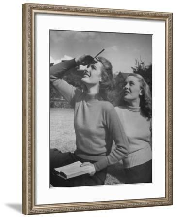 Models Wearing Wool Turtleneck Sweaters Representing the Latest College Fashions-Nina Leen-Framed Photographic Print