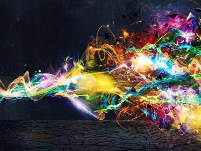 Modern Abstract Motion Banner on Dark-Federico Caputo-Art Print