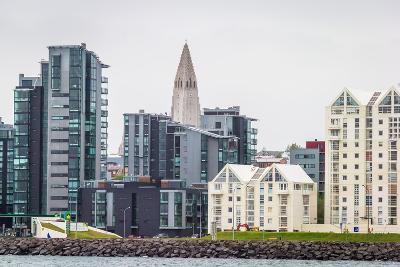 Modern Apartment Buildings Surrounding Hallgrimskirkja Church, Reykjavik, Iceland--Photographic Print