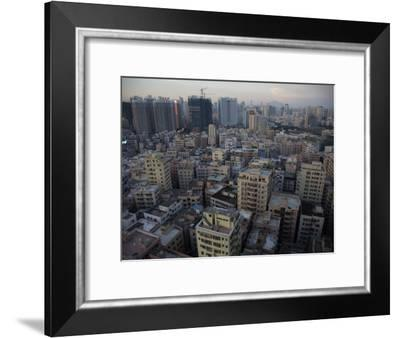 Modern Architecture Surrounds Older Buildings in Shenzhen-Randy Olson-Framed Photographic Print
