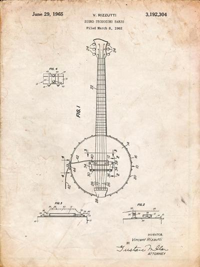 Modern Banjo Patent-Cole Borders-Art Print