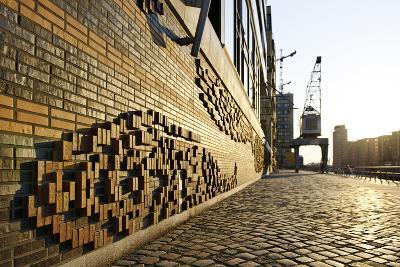 Modern, Brick Flood Protection Wall, Backlit, Flood Protection, Kaiserkai-Axel Schmies-Photographic Print