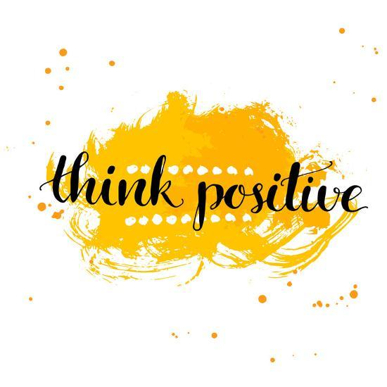 Modern Calligraphy Inspirational Quote - Think Positive - at Yellow Watercolor Background.-kotoko-Art Print