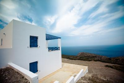 Modern Greek House with View of the Sea - Syros, Greece-EvanTravels-Photographic Print